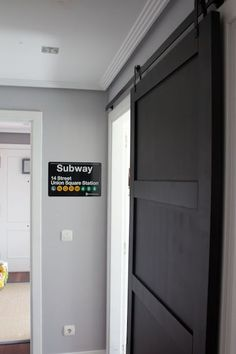 A Sliding Barn Door For Small Spaces Made Out Of Mdf And Made To Look Door Like Black But Prefer Stain So Warms Up Black Simpler Hardware Shown