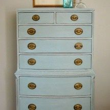 Annie Sloan Duck Egg Blue on a Vintage Chest www.thepainteddrawer.com