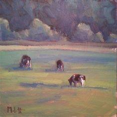 "Daily Paintworks - ""Cow Painting Holstein Grazing Rural Landscape"" - Original Fine Art for Sale - © Heidi Malott"