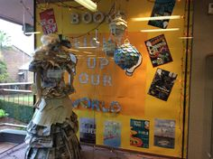 """Window display for Bookweek 2015. """"Books Light up our World"""""""