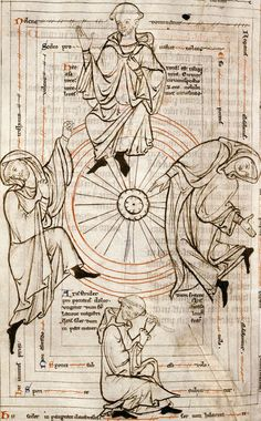 Wheel of Hypocrisy: 1) He stands by Pride, 2) He falls by Negligence. Put down in sorrow, 3) He lies there by Poverty. The shame of him who has nothing, 4) He rises by money. 13th century.  Also called the Wheel of Fortune.
