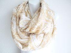 Bohemian Ivory Paisley infinity scarf  by myfashioncreations, $22.00 #bohemian #boho #scarf #spring