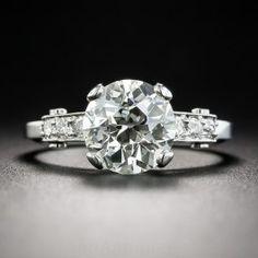 2.27 Carat Diamond Vintage Platinum Engagement Ring - GIA K VS2 - Vintage Diamond Engagement Rings - Vintage Engagement Rings