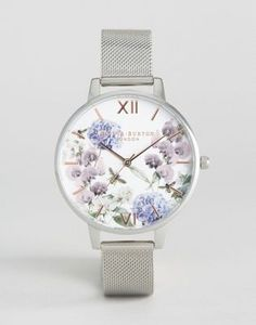 Olivia Burton – Parlour Be – Armbanduhr mit floralem Design, in Silber