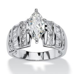 Designed to impress this marquise-cut cubic zirconia ring radiates with channel-set cubic zirconia accents giving off 3Price - $67-MXiuSViF