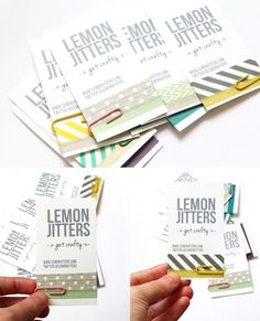 DIY business cards by Lemon Jitters. Use different washi tape combos