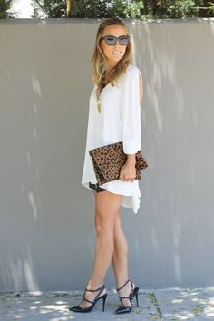 Lovers and Friends Dress + Heidi Merrick Shorts + Clare Vivier Clutch