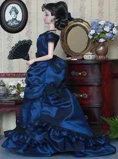 Blue Ballgown created for Silkstone Barbie doll by Marlena Monice