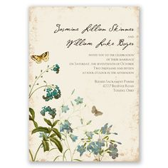 The fresh appeal of free-flowing wild flowers and butterflies makes a nature-inspired, two-sided wedding invitation more beautiful. The ecru paper adds a rustic, vintage appeal. Bridal Invitations, Vintage Invitations, Invitation Ideas, Invites, Vintage Wedding Theme, Rustic Wedding, Vintage Weddings, Floral Wedding, Summer Wedding