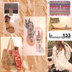 Le 133 aime l' esprit Boheme pour la collection été 2015. Pieds nus et sacs Ambre babzoe. Boutique Le 133. Cannes. France