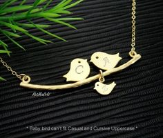 Bird Family Necklace, Parents and Baby Bird Necklace. New Mom Gift, Mom Dad and Child Initial, GOLD Bird Initial Necklace, Personalized Jewelry  GOLD FAMILY BIRDS - Gold filled chain, findings and clasp - High quality Gold plated over Brass Love Birds for more durable - approx. 1.80 L (45mm) - Gold plated tiny baby bird - approx. 0.30H (9mm) ..........................................................................................  TO PERSONALIZED this necklace, please specify your…