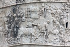 Trajan sacrifices in a Roman camp as a part of the lustration rite of suovetaurilia. The Trajan's Column website of R. Trajan's Column, Roman Sculpture, Ancient Architecture, Ancient Artifacts, Ancient Rome, Pottery Art, Scene, Antiques, Drawings