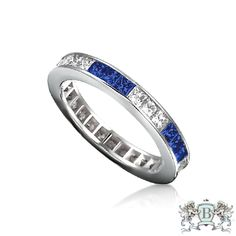 Ziva Square Sapphire & Diamond Eternity Ring
