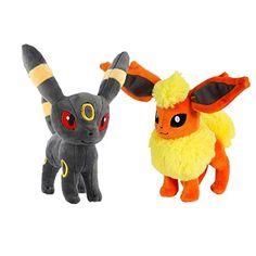 "2PCS Pokemon 8""/ 20cm Umbreon + Flareon Eevee Plush Soft Toy Stuffed Doll Cute Japanese Cartoon Xmas Gift"