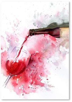 Art Print: Red Wine Pour by Rachel McNaughton : If you love wine as much as we do, check out our wine art canvas wrap & tees range - click that link! Wine Painting, Watercolour Painting, Bear Watercolor, Watercolors, Art Surf, Art Du Vin, Art Sketches, Art Drawings, Pouring Wine