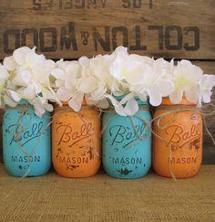 Mason Jars, Ball jars, Painted Mason Jars, Flower Vases, Rustic Wedding Centerpieces, Apricot and Turquoisel Mason Jars