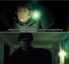 """Hannibal & Will Graham: """"Where you can always find me. Hannibal Tv Series, Nbc Hannibal, Hannibal Lecter, Hannibal Quotes, Addicted To Love, Will Graham, American Gods, Hugh Dancy, Best Shows Ever"""