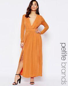 Lækre Lipstick Boutique Petite Maxi Dress With Thigh Split And Plunge Neckline - Burnt orange Lipstick Boutique Petite Kjoler til Damer i behagelige materialer