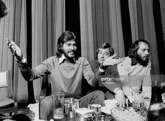 The Bee Gees posed at a Press Conference in Copenhagen, Denmark in 1975. L-R Barry Gibb, Robin Gibb, Maurice Gibb