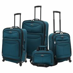 I'm learning all about U.s. Traveler U.S. Traveler Fashion 4 piece Spinner Luggage Set, Teal at @Influenster!
