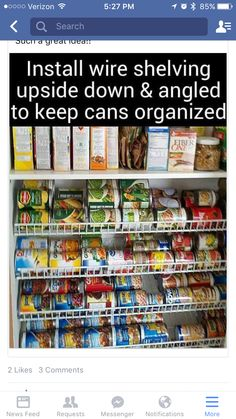 Wire Shelf Turned Upside Down and Angled For Pantry Shelving Pantry Cabinet solutions - 7 ways to create functional pantry storage. Make life easier & get more storage with pull out pantry cabinets, rollers, stackable containers