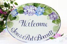 Targhetta Benvenuti con fiori/ Targa personalizzata/ Targa ceramica/ Targa dipinta a mano/ Targhetta porta ingresso/ Targa nuova casa