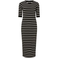 Sugarhill Boutique Octavia Stripe Midi Dress, Black/White ($48) ❤ liked on Polyvore featuring dresses, short sleeve maxi dress, body con dress, midi dresses, short-sleeve maxi dresses and bodycon mini dress