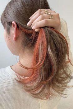 Two Color Hair, Hair Color Streaks, Ombre Hair Color, Cool Hair Color, Hair Highlights, Peekaboo Hair Colors, Underlights Hair, Aesthetic Hair, Dye My Hair