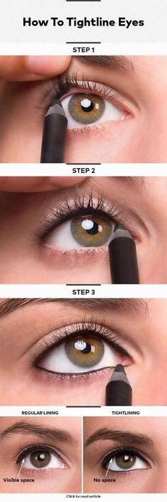 Or, you could tightline your eyes instead. #BeautyHacksForTeens Eyeliner Hacks, Khol Eyeliner, Eyeliner Ideas, White Eyeliner, Eyeliner Brands, Eyeliner Pencil, Eye Makeup Tips, Diy Makeup, Eyeshadow Makeup