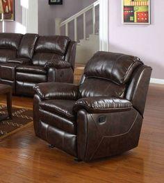 Dillon Upholstery Wood Foam Dacron Bonded Leather Glider Recliner