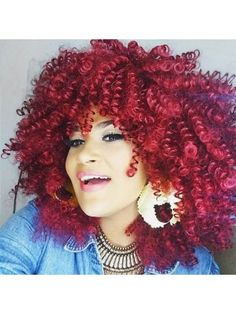 Medium Oblique Bang Fluffy Afro Curly Synthetic Wig