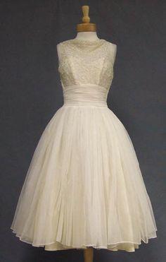 Vintageous, LLC - Fred Perlberg Ivory Chiffon Cocktail Dress w/  Sequins, $180.00 (http://www.vintageous.com/fred-perlberg-ivory-chiffon-cocktail-dress-w-sequins/)