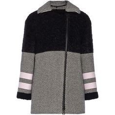 Fendi Shearling, wool and mohair-blend coat (122,425 INR) ❤ liked on Polyvore featuring outerwear, coats, coats & jackets, jackets, fendi, black, fendi coat, sheep fur coat, wool coat and woolen coat