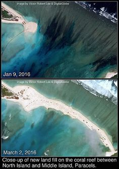 "Land fill at North Island and Middle Island, Paracels, South China Sea. China manufacturing land, or ""reclamation"""