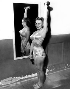 """When Abbye Eville, a telephone operator, wanted to shed some pounds, her then-boyfriend Les Stockton encouraged her to lift weights at Santa Monica's Muscle Beach. She soon became known as """"Queen of the Barbelles"""" & became the poster-girl for fitness. In the 1940s, she organized the first all-female weight-lifting contest and opened the first all women's gym in the United States."""