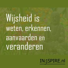 Wijsheid is weten, erkennen, aanvaarden en ...veranderen - spreuk van ingspire inge