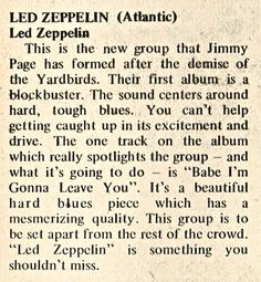 First review of Led Zeppelin, Go Magazine 1969.