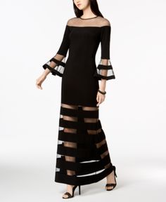 Betsy & Adam Illusion-Stripe Bell-Sleeve Gown, in regular and petite sizes - Black 6 Gowns With Sleeves, Bell Sleeves, Stylish Dresses, Fashion Dresses, Modelos Fashion, Mom Dress, Looks Chic, Haute Couture Fashion, Mode Hijab