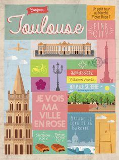 Cette affiche colorée séduira tous les amoureux de la ville de Toulouse. On y retrouve ses plus grands symboles : le Capitole, la Croix Occitane, la place Saint-Pierre, la basilique Saint-Sernin, la Garonne! Avec son design tendance, elle mettra en valeur votre intérieur! #toulouse #déco #affiche #igerstoulouse #wim #wim-shop #design #villerose