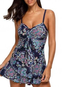 ModLily - unsigned Open Back Printed Layered Navy Swimdress and Panty - AdoreWe.com