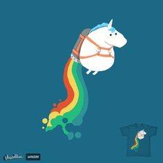 Fat unicorn on rainbow jetpack by radiomode on Threadless