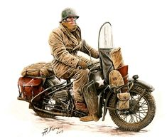 My corner of the web where I blather about all things Weird WWII. Harley Davidson Wla, Harley Davidson Motorcycles, Military Photos, Military Art, Motorcycle Style, Motorcycle Humor, Car Drawings, Bike Art, Vintage Bikes