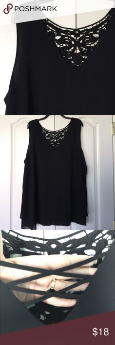 Gorgeous black tank NWOT.  Gorgeous black tank with crisscrossing neckline and lace yoke in the back.   Armpit to armpit is 26 inches and length is 31 inches. bobeau Tops Tank Tops