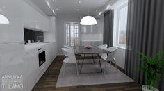Sisustussuunnittelu Annukka Tolamo 3D mallinnus uudiskohde keittiö / ruokatila