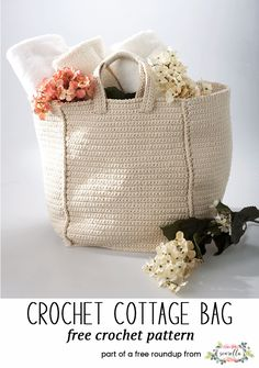Crochet this cottage tote bag from my crochet bags and toes for spring free pattern roundup!
