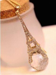 Fascinating Eiffel Tower Shaped Crystal Neckpiece by Mary Arthur