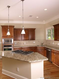 Best wood for kitchen cabinets Knobs Traditional Medium Woodcherry Kitchen Cabinets 06 kitchendesignideas Pinterest 87 Best Light Wood Kitchens Images In 2019 Wood Kitchen Cabinets