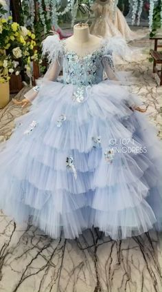 Light Blue Girls' Princess Ball Gowns Couture Prom Dress for Kids - The most beautiful children's fashion products Girls Pageant Dresses, Little Girl Dresses, Flower Girl Dresses, Prom Dresses For Kids, Princess Dress Kids, Princess Ball Gowns, Princess Dresses, Girls Winter Fashion, Kids Fashion