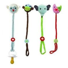 crochet pacifier holder for babies Love Crochet, Crochet Gifts, Crochet For Kids, Crochet Yarn, Crochet Toys, Crochet Pacifier Clip, Pacifier Clips, Pacifier Holder, Baby Patterns