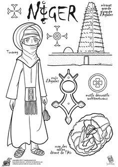 Coloriage / dessin enfant Niger et touareg